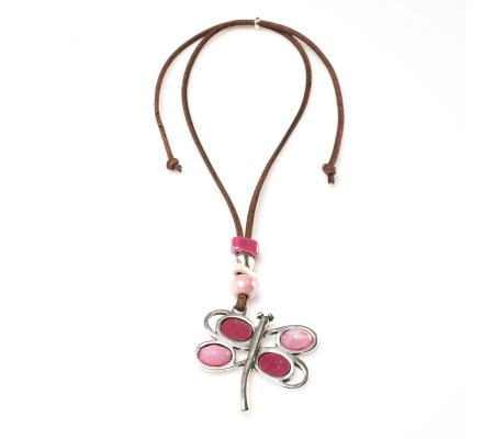 Halsketting bruin met roze vlinder