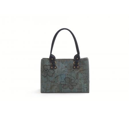 Handtas blauw met floralmotief