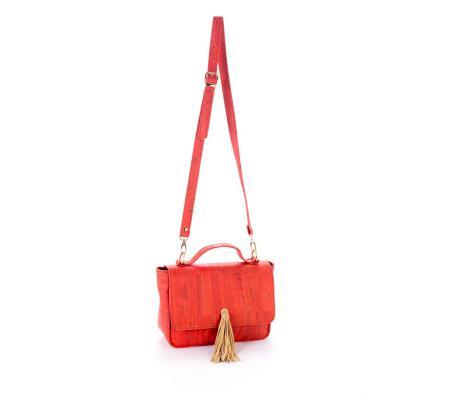 Handtas rood met ponpon