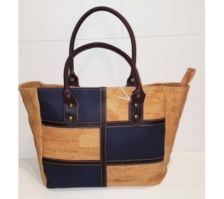 Handtas beige/blauw